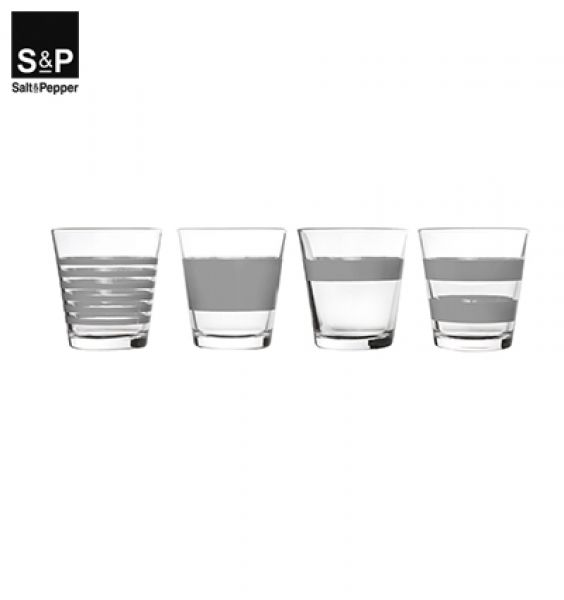 Salt&Pepper Drinkglas set/4 Stripes grijs
