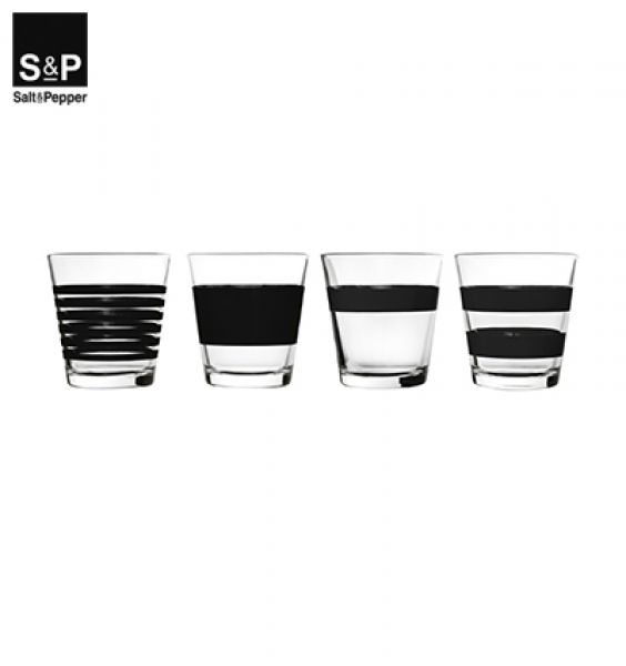 Salt&Pepper Drinkglas set/4 Zwart Stripes 800762