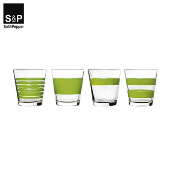 Salt&Pepper Drinkglas set/4 Stripes groen