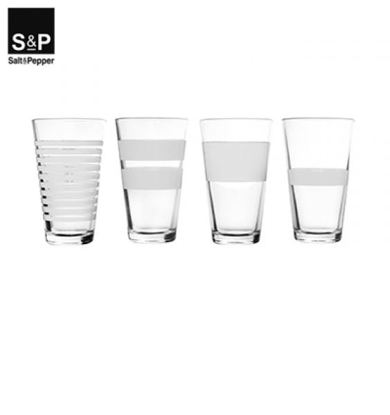 Salt & Pepper - Longdrinkglas set/4 Stripeless wit
