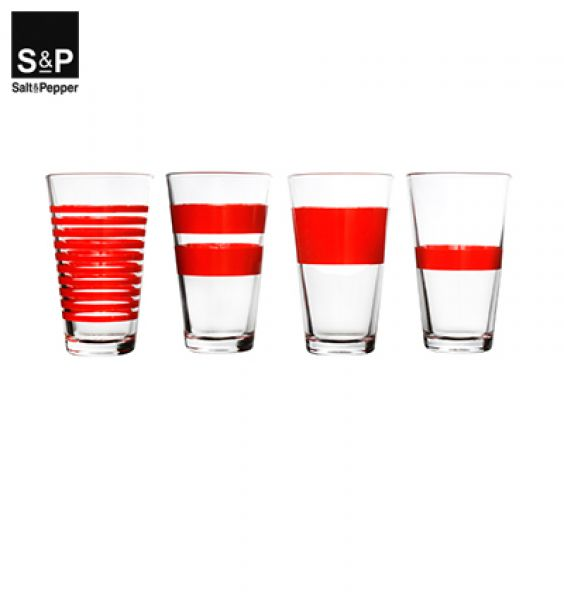 Promo Salt&Pepper Longdrinkglas set/4 Rood Stripes 800750