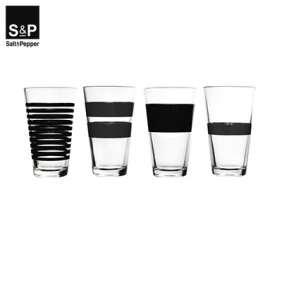 Salt&Pepper Longdrinkglas set/4 Zwart Stripes 800752