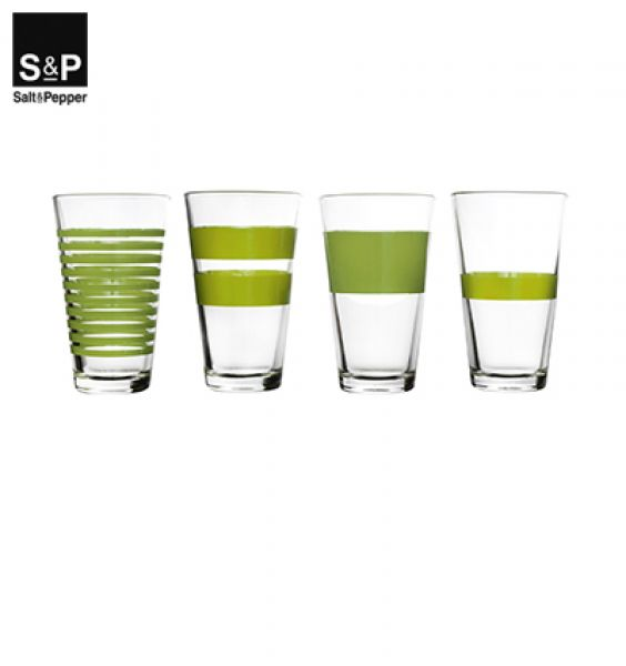 Salt&Pepper Longdrinkglas set/4 Stripes groen