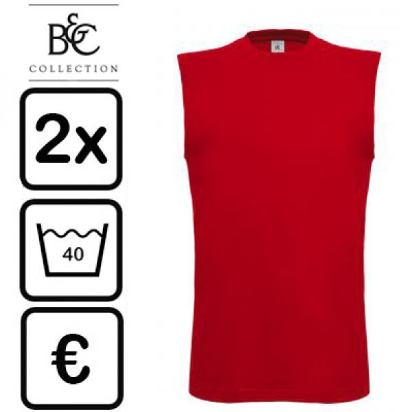 B&C Collection - Rode t-shirt zonder mouwen Exact move