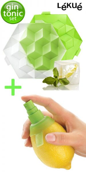 GIN TONIC -  2 delige gin tonic set GIANT ICE CUBES MAKER + CITRUS SPRAY