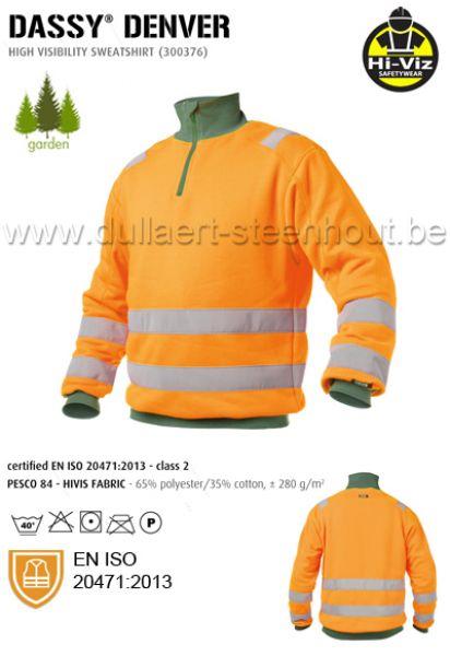 3bf8b013553 Dassy - Denver fluo oranje/groene werksweater met elastische reflecterende  banden