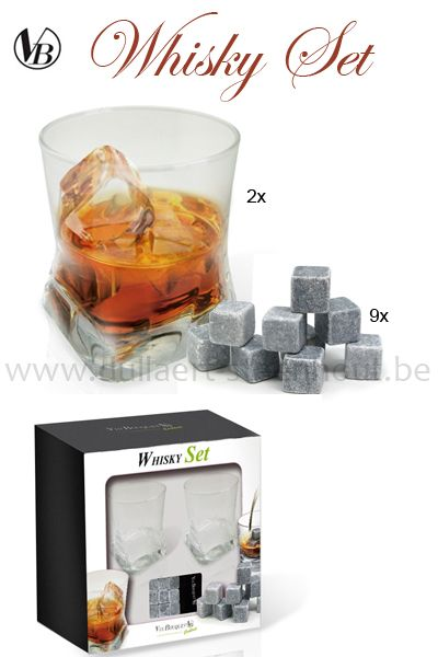 VB WHISKY-SET - 2 whisky glazen + 9 Chill stone rocks
