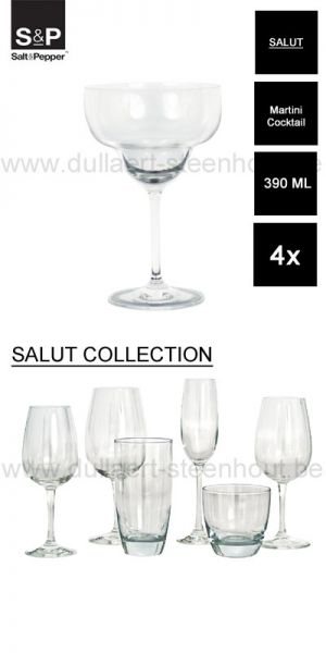 Salt&Pepper - SALUT 4x S&P Martini glazen / cocktail glazen 390 ML