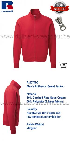 Russell -  Authentic Sweat Jacket 267M - Rood