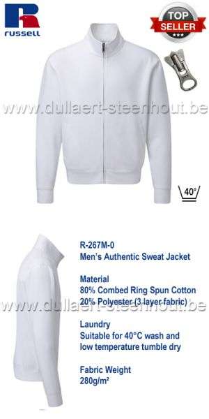 Russell - Authentic Sweat Jacket 267M - Wit