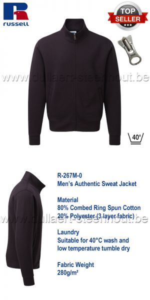 Russell - Authentic Sweat Jacket 267M - Zwart