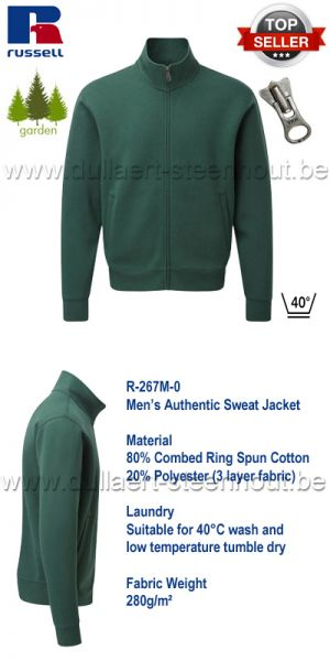 Russell - Authentic Sweat Jacket 267M - Bottle green