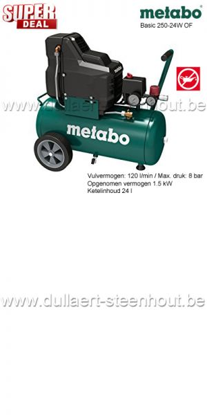 Metabo - BASIC 250-24 W OF - OLIEVRIJE COMPRESSOR Metabo