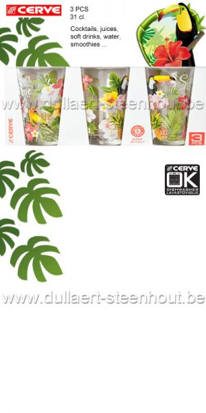 Cerve - Set van 3 glazen Summer Time 31 cl. Cocktails / frisdrank / smoothies / water ...