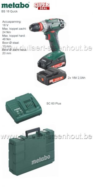 Metabo - BS 18 Quick 18V Li-Ion accu boor-/schroefmachine set (2x 2.0Ah accu) in koffer