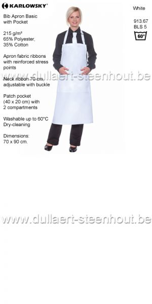 Karlowsky - Witte schort / keukenschort - Bib Apron Basic with Pocket