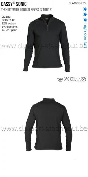 2aeaf48a94a DASSY® Sonic (710012) T-shirt met lange mouwen - zwart/grijs