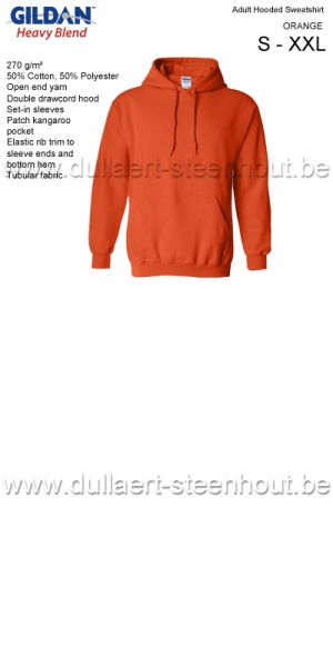 Gildan - Werksweater met kap 18500 Heavy blend - orange