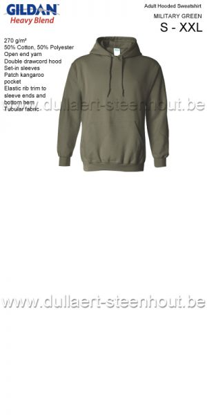 Gildan - Werksweater met kap 18500 Heavy blend - military green