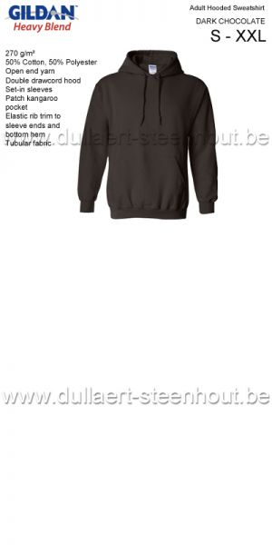 Gildan - Werksweater met kap 18500 Heavy blend - dark chocolate