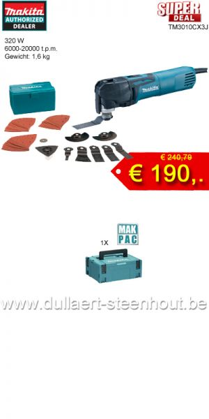 SPECIAL PRICE Makita -  TM3010CX3J Multitool 320W + accessoires + MAKPAC koffer
