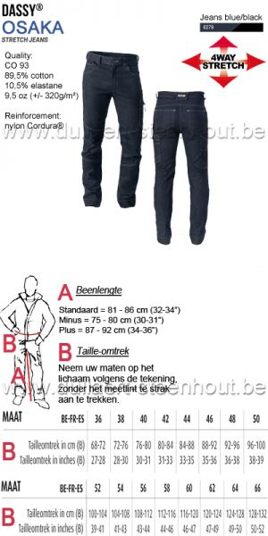 DASSY® Osaka (201011) Stretch werkjeans / stretch spijker werkbroek - jeans blue/black