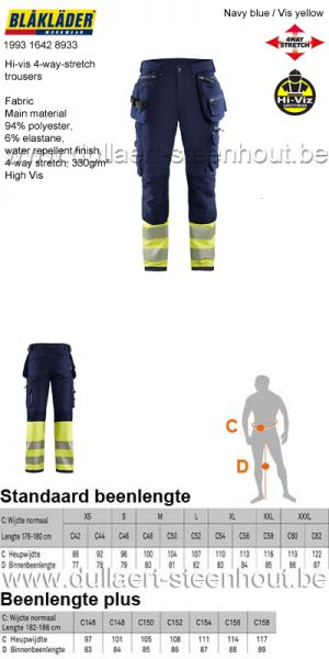 Blaklader - 199316428933 High Vis 4-weg-stretch werkbroek - marine / fluogeel